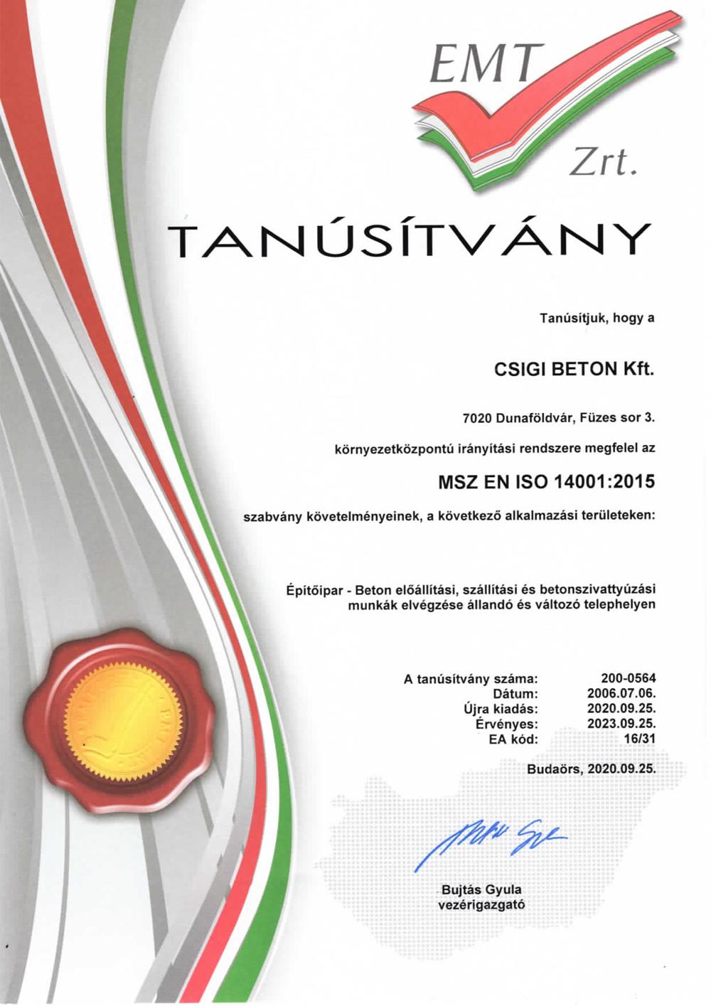MSZ EN ISO14001 2015
